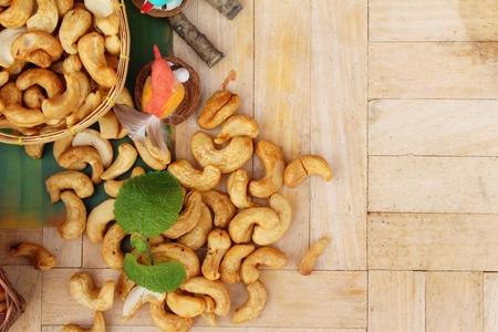 Roast cashew nuts with salt is delicious Stock Photo