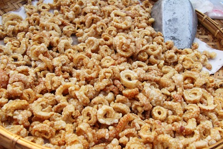Fried pork skin delicious at street food