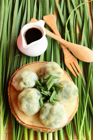 Steamed dumpling stuffed with garlic chives delicious Stock Photo