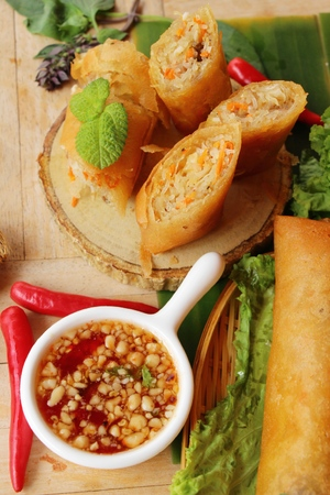 Fried spring rolls traditional for appetizer food