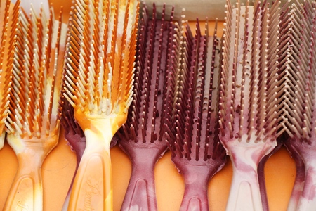A lot of plastic comb for sale Stock Photo