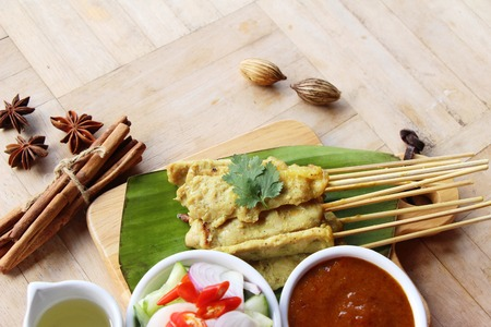 Grilled pork satay with sauce is delicious