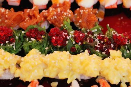 Mixed roll sushi set delicious, Japanese food Banco de Imagens