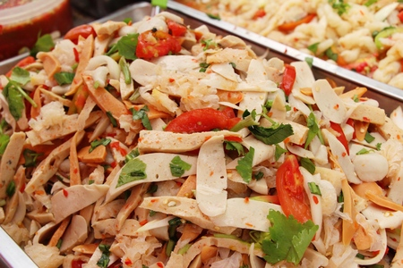 Spicy pork salad delicious at street food