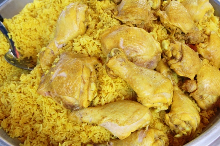 Chicken biryani with rice at street food