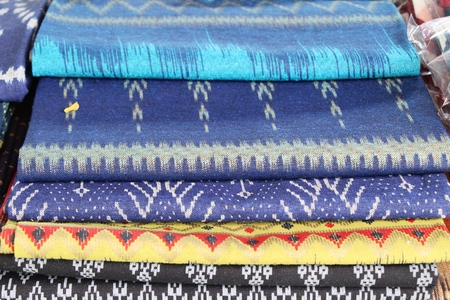 Thai striped fabric beauty at street shop