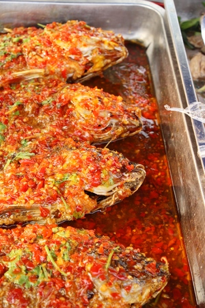 Deep fried fish with chili sauce delicious
