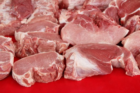 Raw pork for cooking at street food