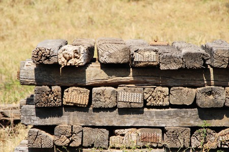 Old wooden sleepers vintage style for railway