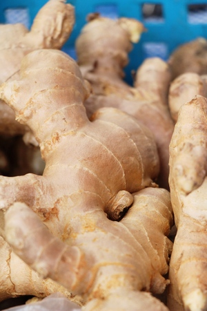 Ginger root for cooking in the market