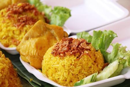 Chicken biryani with rice at street food