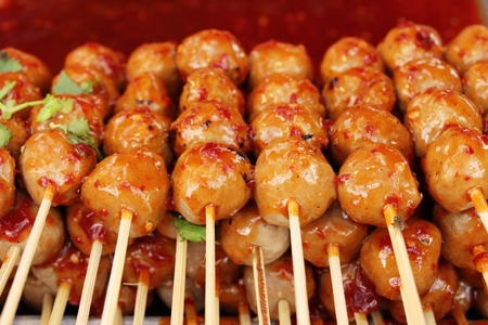 grilled meatballs is delicious at street food