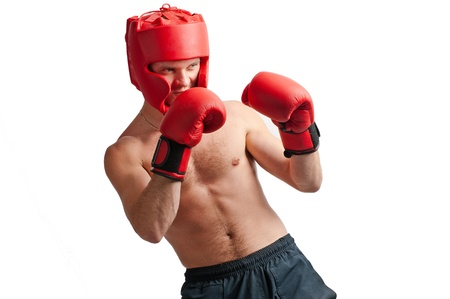 pokrývka hlavy: Defence of professional boxer with gloves and protective headgear isolated on white background