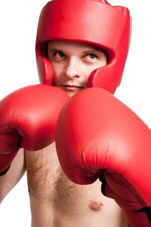 pokrývka hlavy: Professional fighter with boxing gloves and protective headgear isolated on white background