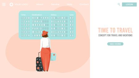 Airport passenger ready to travel, departure vector illustration