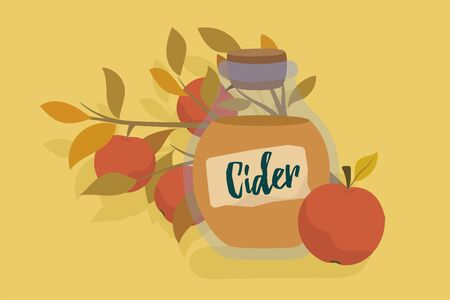 Apple cider in glass jar, flat cartoon style vector illustration