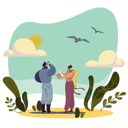 Birdwatching people cartoon characters in nature, vector illustration. Man and woman watching birds, exploring wildlife. Abstract landscape, flying bird, person with binoculars. Active lifestyle hobby Ilustração