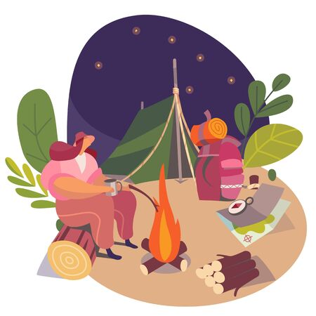 Woman camping alone in nature at night, vector illustration. Lonely traveler at campfire, tent and backpack in modern flat style. Woman cartoon character at campsite, backpacking in nature at night