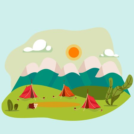 Camping in nature, outdoor landscape vector illustration. Campsite in mountains, summer holiday journey, active recreation. Campground with tents in flat cartoon style, summer nature, mountain meadow
