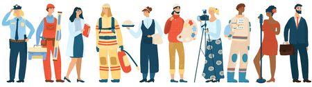 Menschenberufsvektor professioneller Mann und Frau in Uniform von Feuerwehrmann, Polizist und Astronaut. Arbeitnehmer verschiedener Berufe Schauspielerin und Geschäftsmann isoliert auf weißem Hintergrund. Vektorgrafik
