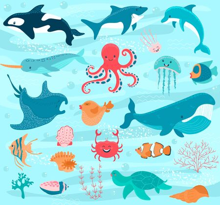 Sea animals vector cartoon ocean characters crab, funny octopus and whale underwater. Illustration marine set of cute fishes stingray, happy jellyfish and dolphin seabed with shells. Wild shark.
