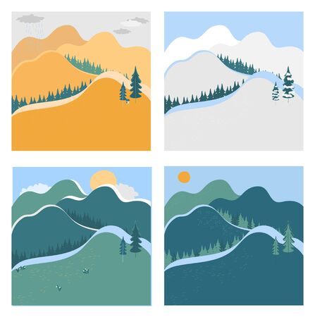 Nature landscape in different seasons, vector illustration. Mountains and hills in summer, winter, autumn and spring. Set of simple landscapes in flat style, nature outdoor, seasons and weather Ilustração