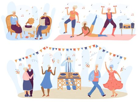 Elderly people listening to music, cartoon characters vector illustration. Retired men and women dancing and training, active lifestyle of senior people. Happy grandma and grandpa listen to music