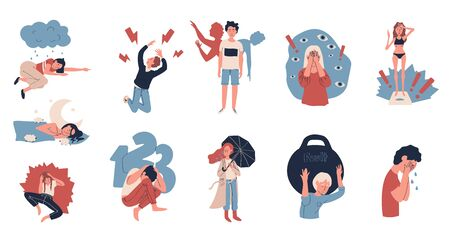 Depression people suffering from stress, vector illustration. Unhappy cartoon characters with mental health disorders, anxiety and insomnia. Set of stickers with depressed cartoon characters Illustration