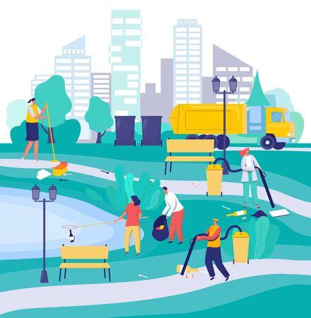 Les gens nettoient le parc de la ville, illustration vectorielle de personnages de dessins animés. Volontaires en environnement et préposés au service d'entretien. Hommes et femmes ramassant les ordures dans le parc, les militants de l'environnement travaillent ensemble