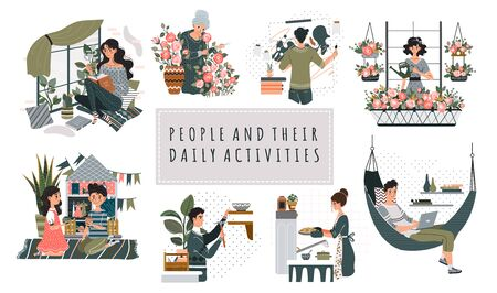 Everyday hobby activity cartoon people characters vector illustration. Leisure at home, pastime for men and women. People reading, painting, baking, gardening and playing. Set of everyday hobbies