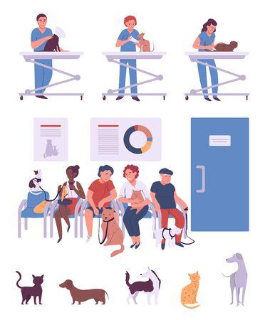 Menschen mit Haustieren in der Tierklinik, Cartoon-Figuren-Vektor-Illustration. Tierbesitzer im Wartezimmer, professioneller Tierarzt, der Hunden und Katzen hilft. Tierklinik, Tierarzt und Patienten