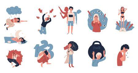 Personnes souffrant de dépression et de stress, illustration vectorielle