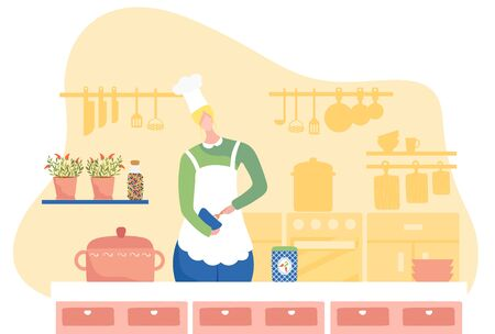 Woman chef cooking in kitchen, cartoon character vector illustration