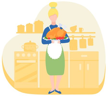 Woman in kitchen holding dish with oven roasted turkey, traditional thanksgiving dish, vector illustration. Home cooking recipe for thanksgiving holiday celebration, American tradition, cooked turkey
