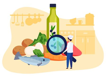 Restaurant chef looking at ingredients of meal recipe, vector illustration. Professional cook in uniform, man cartoon character in kitchen. Food cooking concept, raw products for healthy meal recipe