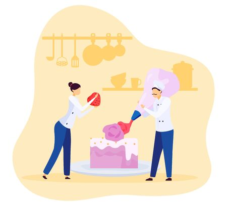 Bakery chef people decorating cake with cream and strawberry, vector illustration. Tiny man and woman cooking huge dessert for cafe, slice of sweet cake. Bakery kitchen process, restaurant cook in uniform Illustration