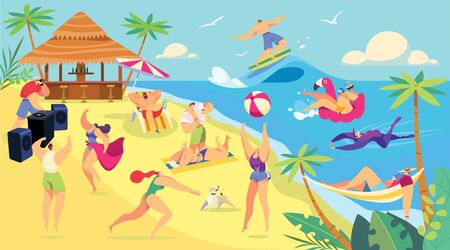 Summer vacation beach activities, cartoon characters people vector illustration. Holiday leisure at seaside, men and women sunbathing, swimming, play and relaxing. People enjoying summertime beach lei  イラスト・ベクター素材