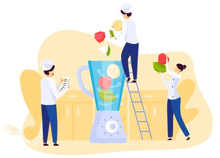 Restaurant people team cooking fruit smoothie, mixing fresh ingredients in blender, vector illustration. Professional cook recipe of fruit dessert, cartoon chef in uniform. Teamwork cooking process concept