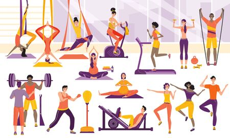 Sport people training in gym, cartoon sport characters workout vector illustration. Men and women exercising in fitness center, active healthy lifestyle. Yoga and cardio training in gym, modern fitness studio