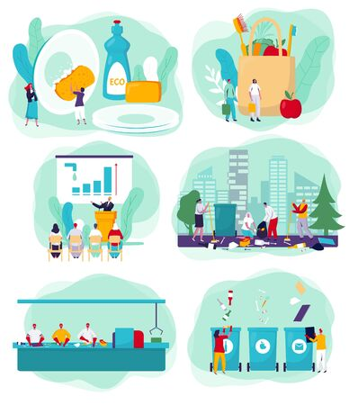 Environment polution cleaning activists and volunteers cartoon characters, vector illustration. People cleaning park, sorting and recycling trash. Ecology concept presentation, clean environment social awareness