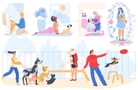 Pet owners people spending time with dogs, cartoon characters vector illustration. Happy men and women taking care of dogs, walking, cuddling and playing with them. Pet owners lifestyle, set of funny scenes