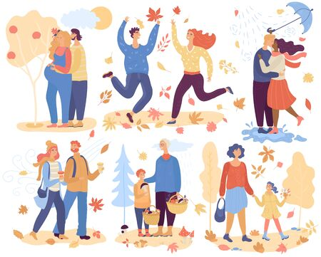 Happy people in autumn, romantic loved couples vector illustration. Family cartoon characters spending time together in nature, enjoying autumn weather. Man and woman in autumn love, happy couple hugging, outdoor