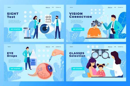 Ophthalmology medical clinic website design, vector illustration