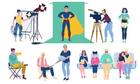 Movie shooting and production process vector illustration