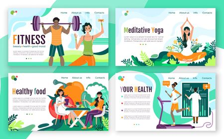 Healthy lifestyle fitness concept for website, vector illustration. Landing page template with articles about training and healthy eating. Cartoon characters modern flat style, weight loss and health program