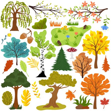 Isolated trees set leaves vector illustration. Creative stickers with elements of nature, park or forest. Hand drawn tree, leaf, flower and grass in simple cartoon style, collection of icons