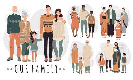 Familias de diferentes países, personajes de dibujos animados ilustración vectorial. Familia feliz juntos, padres e hijos. Personas con ropas tradicionales de la cultura asiática, árabe, africana e india.