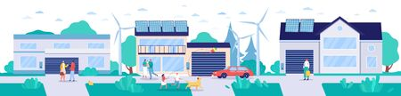 Modern town with renewable energy technologies, vector illustration. Environment friendly lifestyle concept, houses with solar panels, wind turbines and electric cars. Sustainable energy environment