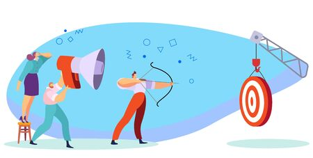 Businessman archer aims at the target, motivating team concept, vector illustration. Successful teamwork, ambitious people reach goal. Business team aiming for successful career, corporate strategy