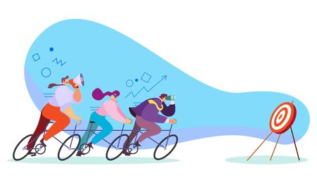 Team moving forward to their target on bicycle, business career concept, vector illustration. Successful teamwork, ambitious leader motivating people reach goal. Business team aiming for success 일러스트